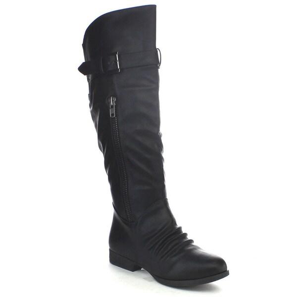 Top Moda Land-5 Women's Fashion Thigh High Buckle Boots