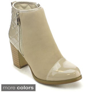 Via Pinky Kayla-84 Women's Comfy Stacked Chunky Heel Ankle Booties