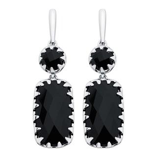Boston Bay Diamonds Sterling Silver 8x15mm Cushion-cut Black Onyx Earrings