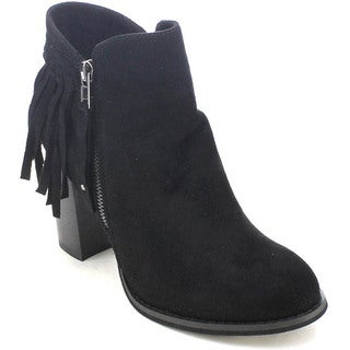 Via Pinky Kayla-86 Women's Stylish Stacked Heel Fringe Ankle Booties