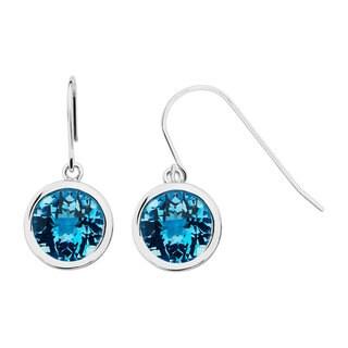Boston Bay Diamonds Sterling Silver 10x10mm Round-cut Blue Topaz Earrings