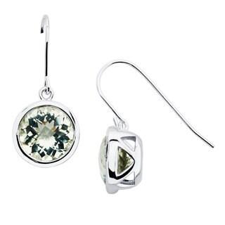 Boston Bay Diamonds Sterling Silver 10x10mm Round-cut Green Amethyst Earrings