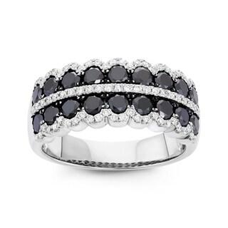 Boston Bay Diamonds 14k White Gold 1 5/8ct TDW Black and White Diamond Fashion Ring (H-I, SI1-SI2)