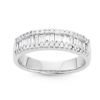 Boston Bay Diamonds 14k White Gold 3/4ct TDW Prong Set Baguette Diamond Fashion Ring (I, I1)
