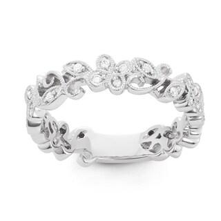 Boston Bay Diamonds 14k White Gold 1/5 Ct Diamond Fashion Ivy Ring (H-I, SI1-SI2)