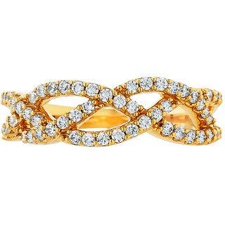 Boston Bay Diamonds 14k Yellow Gold 1/2ct TDW Diamond Fashion Woven Ring (H-I, SI1-SI2)