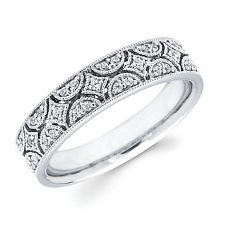 Boston Bay Diamonds 14k White Gold 1/6ct TDW Diamond Fashion Millgrain Archivolt Ring (H-I, SI2-I1)
