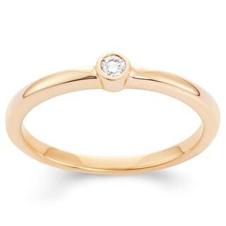 Boston Bay Diamonds 14k Yellow Gold Bezel-set Diamond Accent Fashion Circle Ring