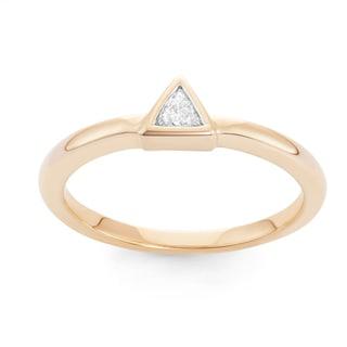 Boston Bay Diamonds 14k Yellow Gold 1/10ct TDW Diamond Fashion Triangle Ring (H-I, SI2-I1)