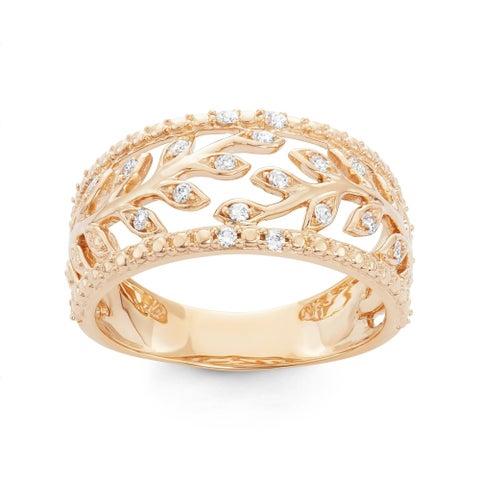 Boston Bay Diamonds 14k Yellow Gold 1/10ct TDW Diamond Ivy Ring
