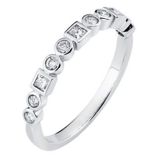 Boston Bay Diamonds 14k White Gold 1/3ct TDW Bezel Diamond Stackable Ring