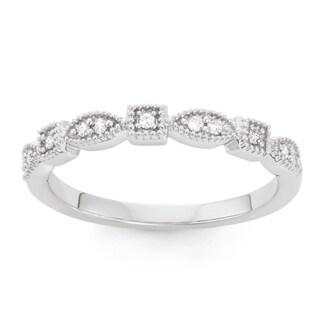 Boston Bay Diamonds 14k White Gold 1/10ct TDW TDW Diamond Teardrop and Square Stackable Band (H-I, SI1-SI2)