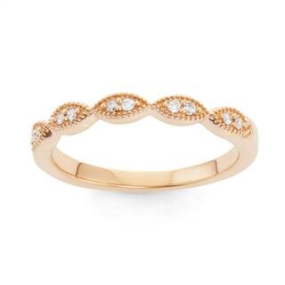 Boston Bay Diamonds 14k Yellow Gold 1/10ct TDW Teardrop Diamond Accent Stackable Ring (H-I, SI1-SI2)