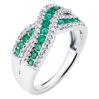 Boston Bay Diamonds 14k White Gold Emerald and 1/3ct TDW Diamond Fashion Woven Ring (H-I, I1-I2)