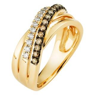 Boston Bay Diamonds 14k Yellow Gold 1/3ct TDW Cognac and White Diamond Fashion Woven Ring (I-J, SI1-SI2)
