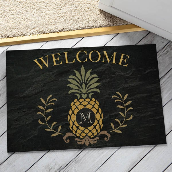 Shop Pineapple Initial Personalized Doormat Free