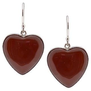 Sterling Silver Heart Carnelian Dangle Earrings (China)
