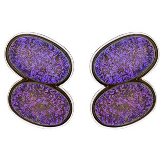 Sterling Silver Oval Druzy Earrings (China)