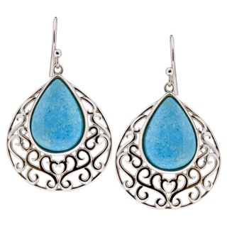 Sterling Silver Pear American Turquoise Dangle Earrings (China)