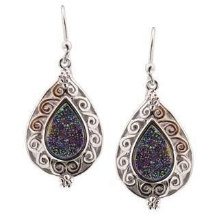 Sterling Silver Pear Druzy Dangle Earrings