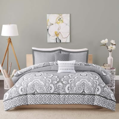 Intelligent Design Simone Grey 5-piece Comforter Set