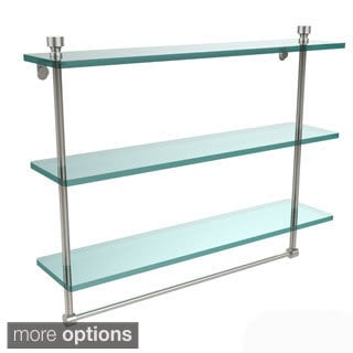 Allied Brass Foxtrot Collection 22-inch Triple Tiered Glass Shelf with Integrated Towel Bar