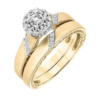 Cambridge 14k Yellow Gold 1/3ct TDW Diamond Halo Bridal Ring Set (I-J, I1-I2)