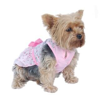 ANIMA Pink Chiffon Layered Pet Dress with Small Tulip Prints
