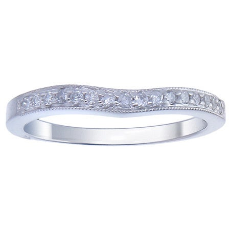 14k White Gold 1/5ct TDW TDW Diamond Wave Milligrain Wedding Band