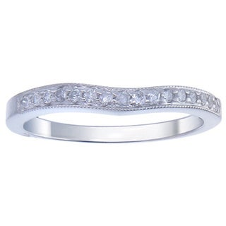 14k White Gold 1/5ct TDW TDW Diamond Wave Milligrain Wedding Band