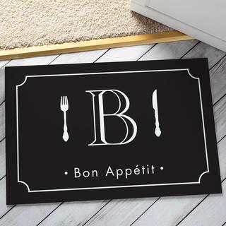 Bon Appetite Personalized Initial Black Doormat