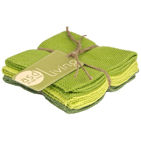 Leaf Green Cotton Knitted Dishcloth (Set of 3)