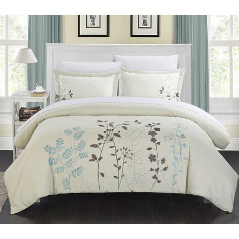 Copper Grove Point Pelee Floral Embroidered 7-piece Bed in a Bag with Sheet Set