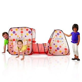 Double Pop Up Play Room Tent Club House with Interconnecting Tunnel and Fun Colors by Dimple