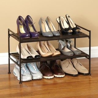 Seville Classics 2-Tier Resin Slat Utility Shoe Rack