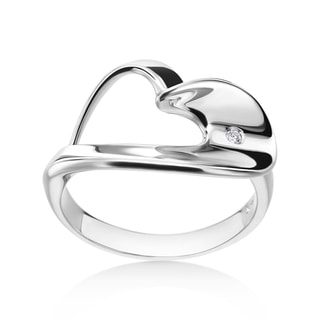SummerRose 14k White Gold Diamond Accent Heart Fasshion Ring