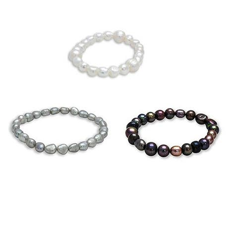 Set of Three Multicolor Baroque Freshwater Pearl Stretch Bracelets (5-7mm) - Multi