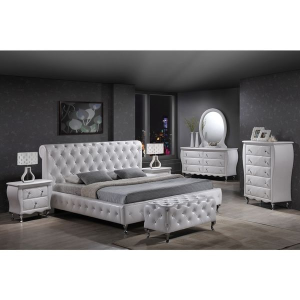 William\'s Home Furnishing Leatherette Tufted Crystal Bed Set ...