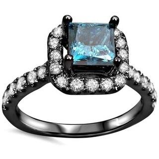 Noori 18k Black Gold 1 1/4ct TDW Blue Princess-cut Diamond Halo Engagement Ring