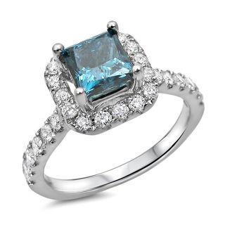 Noori 18k White Gold 1 1/4ct TDW Blue Diamond Halo Engagement Ring (G-H, SI1-SI2)