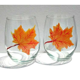 Autumn Fall Leaves Orange Hand-painted 20-ounce Stemless Wine Glasses (Set of 2)