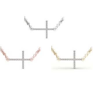 De Couer 10k Gold 1/20ct TDW Diamond Sideways Cross Necklace (H-I, I2)