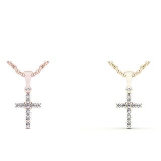 De Couer 10k Gold 1/8ct TDW Diamond Cross Necklace (H-I, I2)