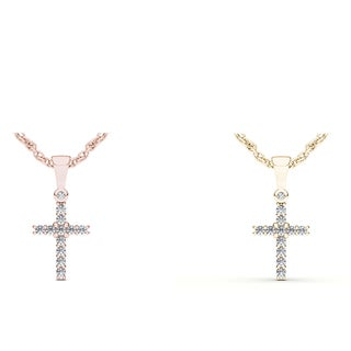 De Couer IGI Certified 10k Gold 1/8ct TDW Diamond Cross Necklace