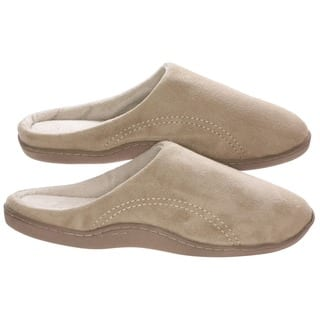 Men's Memory Foam Slippers - Best Indoor or Outdoor Fleece House Shoes with Side Stitches for Men Beige|https://ak1.ostkcdn.com/images/products/10417464/P17517197.jpg?impolicy=medium