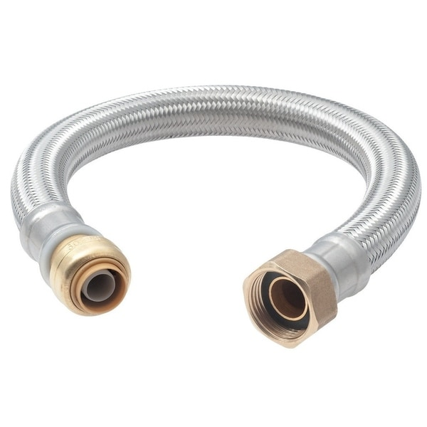 Sharkbite 0.5-inch x 0.75-inch Fip 15-inch Stainless Steel Braided Water Heater Connector Lead Free