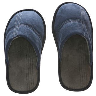Men's Memory Foam Slippers - Best Indoor or Outdoor House Shoes with Side Stitch Embroidery - Blue|https://ak1.ostkcdn.com/images/products/10417546/P17517248.jpg?impolicy=medium