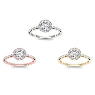 De Couer 14k Gold 1ct TDW Diamond Halo Engagement Ring