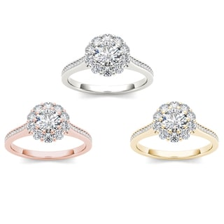 De Couer 14k Gold Diamond Floral Cluster Promise Bridal Ring
