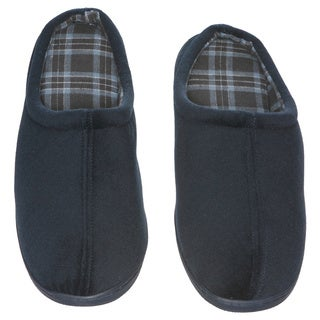 Men's Slip-On House Slipper - Foam Cushioning - Classic Checkered Plaid Lining - Non-Marking Rubber Sole - Men's Slippers, Blue
